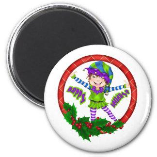 Happy Holiday Elf 2 Inch Round Magnet