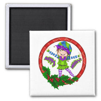 Happy Holiday Elf 2 Inch Square Magnet