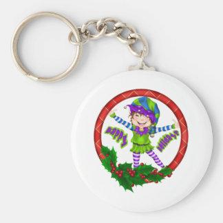 Happy Holiday Elf Basic Round Button Keychain