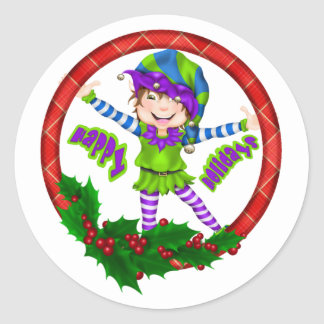 Happy Holiday Elf Classic Round Sticker