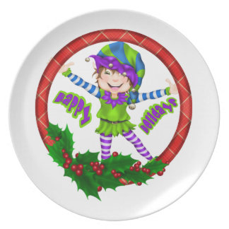 Happy Holiday Elf Dinner Plate