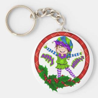 Happy Holiday Elf Keychain