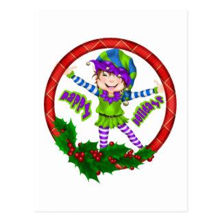 Happy Holiday Elf Postcard