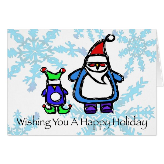 happy holiday - elf & santa penguin card