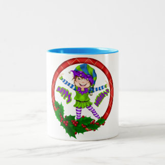Happy Holiday Elf Two-Tone Coffee Mug