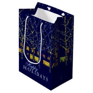 Happy Holiday Festive City Lights Medium Gift Bag