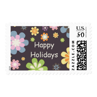 Happy Holiday Floral Postage Stamp