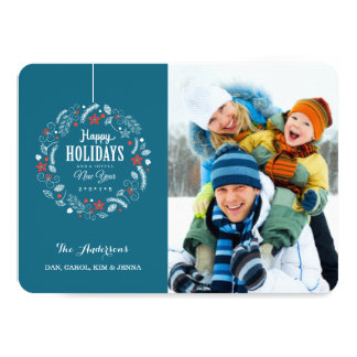 HAPPY HOLIDAY FLORAL WREATH FLAT PHOTO CARD
