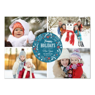 HAPPY HOLIDAY FLORAL WREATH PHOTO COLLAGE 4.5X6.25 PAPER INVITATION CARD