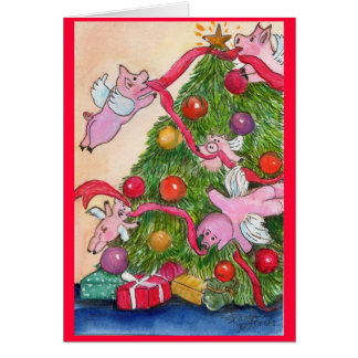 Happy Holiday Flying Pigs DecorateTree Card