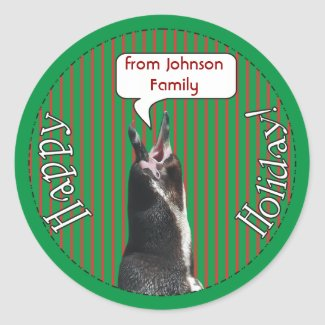 Happy Holiday! Funny Penguin Custom Xmas Stickers
