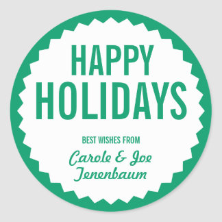Happy Holiday Gift Label Template Classic Round Sticker
