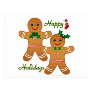 Happy Holiday Gingerbread Man Boy Girl Post Cards