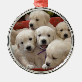 Happy Holiday Golden Retriever puppies Round Metal Christmas Ornament