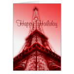 Happy Holiday Greeting Card Eiffel Tower Red