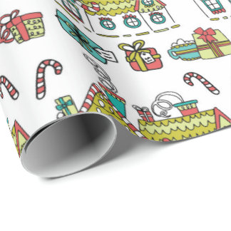 Happy Holiday Houses Wrapping Paper