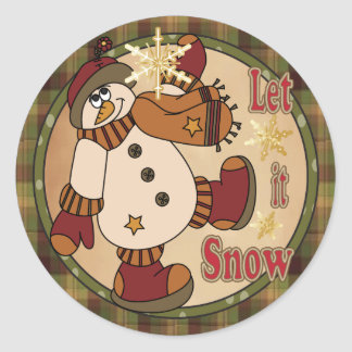 Happy Holiday Let it Snow Snowman Classic Round Sticker