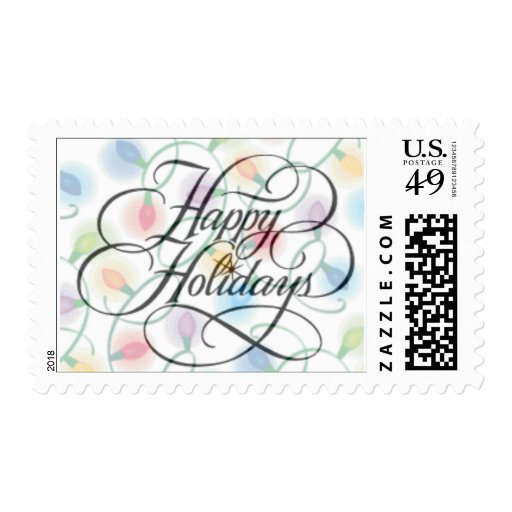 Happy Holiday Lights postage stamp