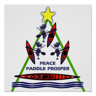 Happy Holiday Paddle Kayak Design Poster