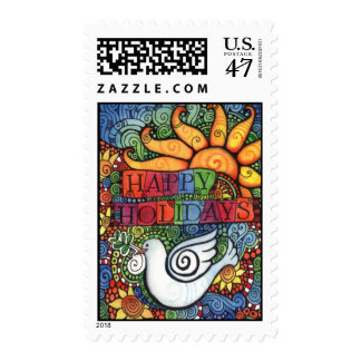 Happy Holiday Peace Dove Design Postage