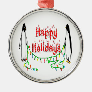 Happy Holiday Penguins Ornament