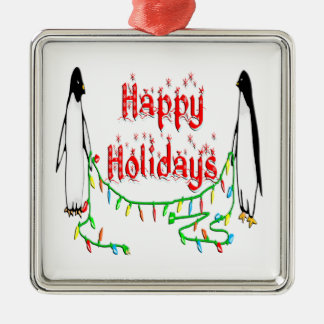Happy Holiday Penguins Square Ornament