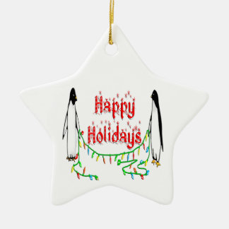 Happy Holiday Penguins Star  Ornament