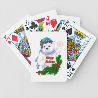 Happy Holiday Polar Bear Bicycle Poker Deck