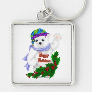 Happy Holiday Polar Bear Keychain