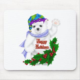 Happy Holiday Polar Bear Mouse Pad