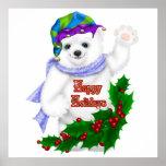 Happy Holiday Polar Bear Posters