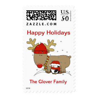 Happy Holiday Postage Stamps