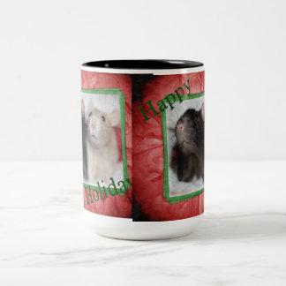Happy Holiday Ratties Two-Tone Coffee Mug