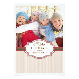 Happy Holiday Red & Tan Large Photo Card Greeting
