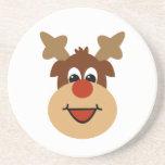 Happy Holiday Reindeer Sandstone Coasters
