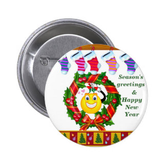Happy Holiday s_ Button_by Elenne Pinback Buttons