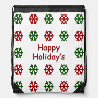 Happy Holiday's with a snowflake pattern Drawstring Backpack