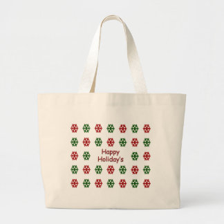 Happy Holiday's with a snowflake pattern Large Tote Bag