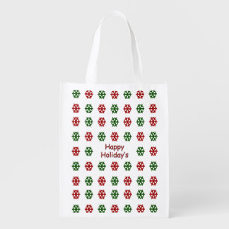 Happy Holiday's with a snowflake pattern Market Totes