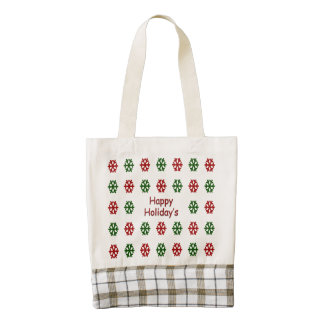 Happy Holiday's with a snowflake pattern Zazzle HEART Tote Bag