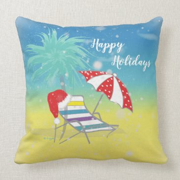 Happy Holiday Santa Hat Snow Flakes Beach Themed Throw Pillow