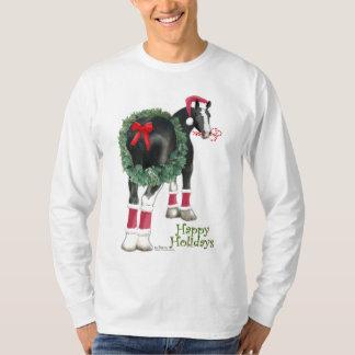 Happy Holiday Shire Draft Horse Wreath T-Shirt