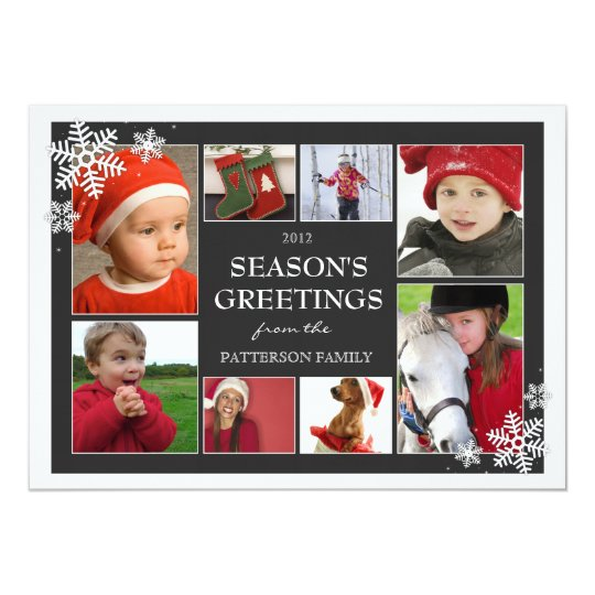 Happy Holiday Snowflakes 8 Photo Collage in Black Card