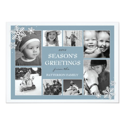 Happy Holiday Snowflakes 8 Photo Collage in Blue Card