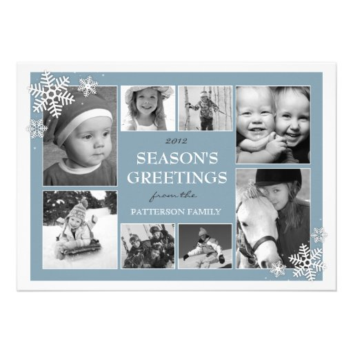 Happy Holiday Snowflakes 8 Photo Collage in Blue Personalized Announcements