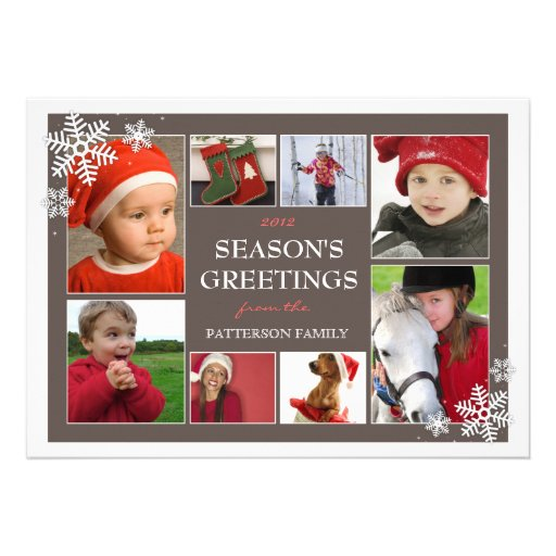 Happy Holiday Snowflakes 8 Photo Collage in Mocha Custom Announcement