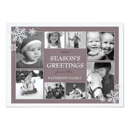 Happy Holiday Snowflakes 8 Photo Collage in Plum Card