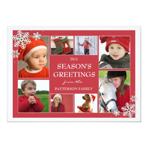Happy Holiday Snowflakes 8 Photo Collage in Red 5x7 Paper Invitation Card