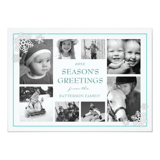Happy Holiday Snowflakes 8 Photo Collage in Teal 5x7 Paper Invitation Card