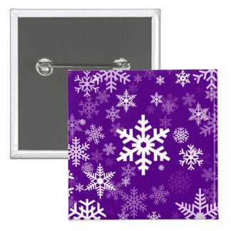 Happy Holiday Snowflakes Motif in deep purple 2 Inch Square Button